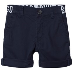 BOSS Navy Chino Shorts with Branded Waistband
