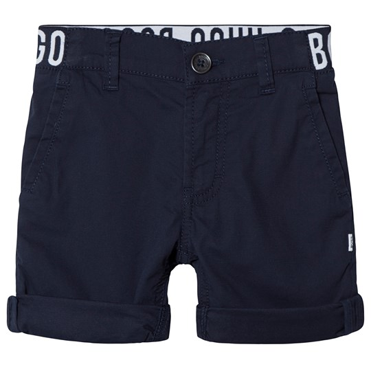 BOSS Navy Chino Shorts with Branded Waistband 849
