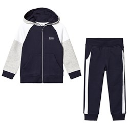 BOSS Navy and Grey Branded Tracksuit