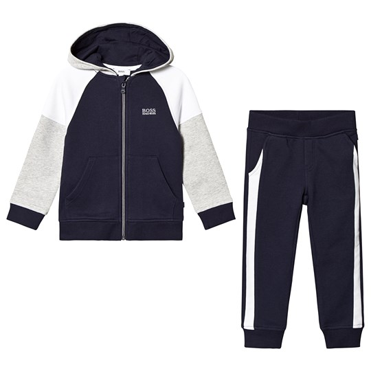 BOSS Navy and Grey Branded Tracksuit M68