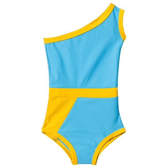 Gardner and the gang Graphic Flounce Swimsuit Blue Blue Orange
