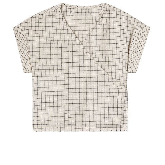Little Creative Factory Grid Print Tateyoko Wrap Top Cream/Black CHECKED