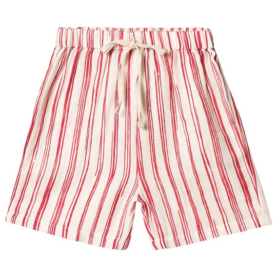 Little Creative Factory Red and White Bamboo Stripe Baby Shorts Red Stripe