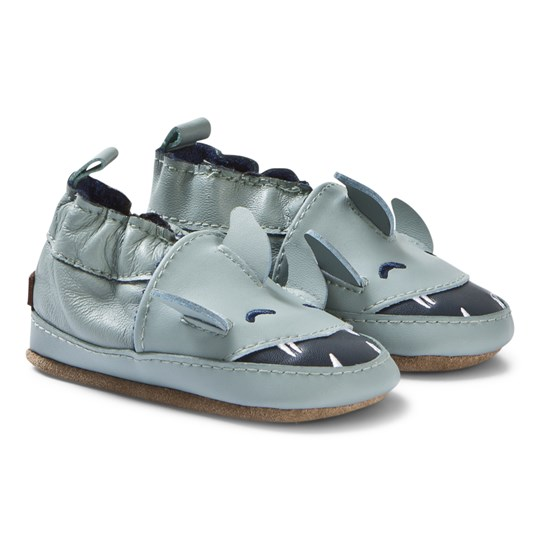 Melton Shark Crib Shoes Pastel Blue Pastel Blue