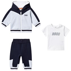 BOSS Pale Blue and Navy Hooded Tracksuit and Tee Set