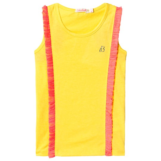 Billieblush Yellow and Pink Tank Top with Pink Frill Trim 530