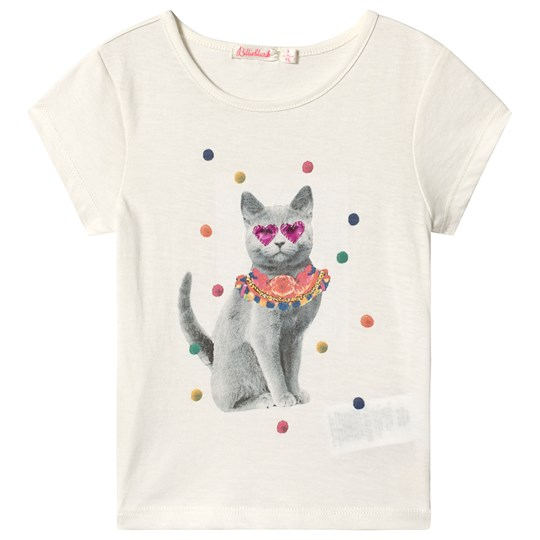 Billieblush Off White Sequins Cat Print Tee 121
