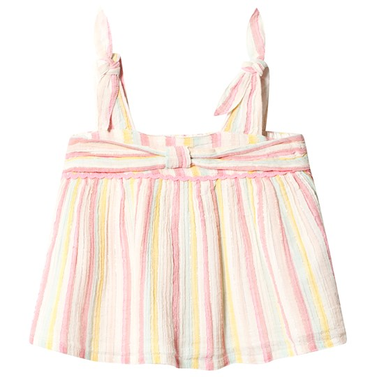 Billieblush Multicolor Stripe Crepe Top with Bow Detail
