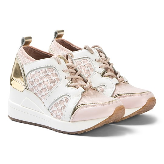 Michael Kors Wedge Sneakers Pink and White Rose Gold