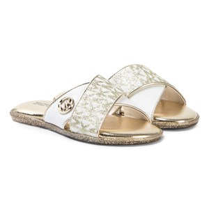 Image of Michael Kors Glitter Sliders Gold and White 31 (UK 12.5) (3125277557)