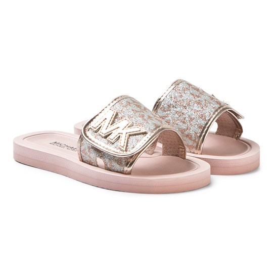Michael Kors Glitter Sliders Pink and Gold Rose Gold