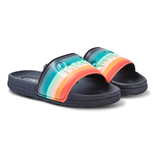 Paul Smith Junior Navy Artist Stripe Branded Slides 492
