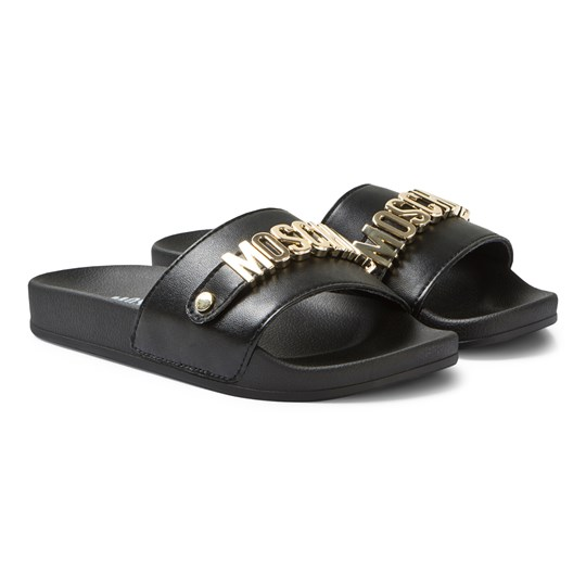 Moschino Kid-Teen Logo Sliders Black and Gold 0A01