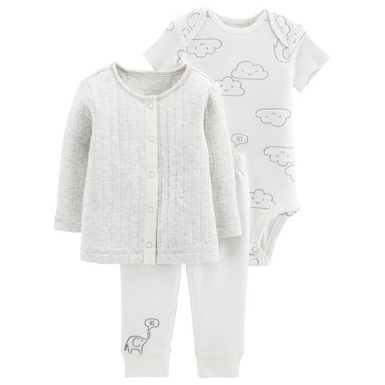 Carter's 3-Piece Little Cardigan Set White Elephant HEATHER (053)