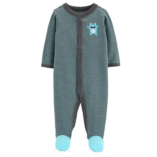 Carter's Monster Snap-Up Footed Baby Body Grey/Blue STRIPE (984)