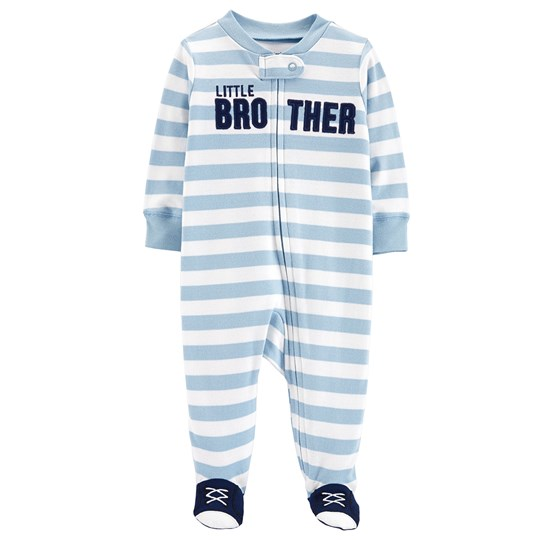 Carter's Brother Zip-Up Footed Baby Body Blue/White STRIPE (984)