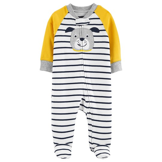 Carter's Dog Zip-Up Footed Baby Body Yellow STRIPE (984)