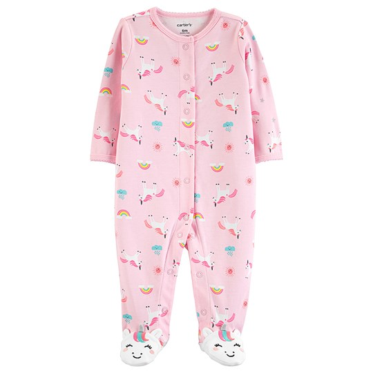 Carter's Unicorn Snap-Up Footed Baby Body Pink PRINT (969)