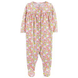 Carter's Floral Snap-Up Footed Baby Body Pink