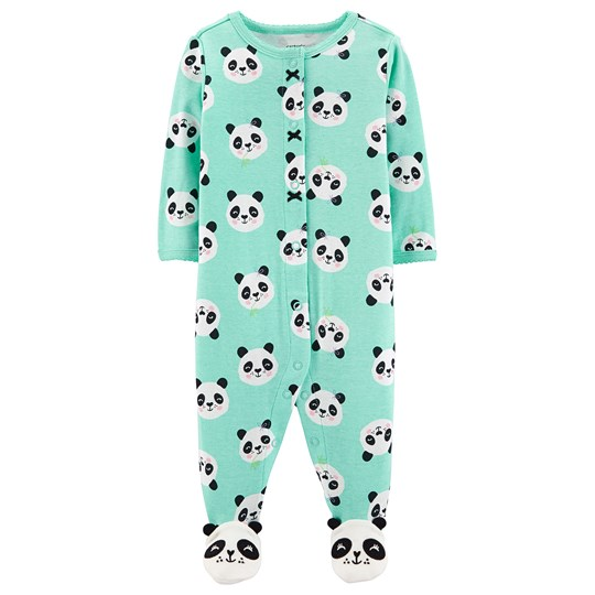 Carter's Panda Snap Footed Baby Body Turquoise PRINT (969)