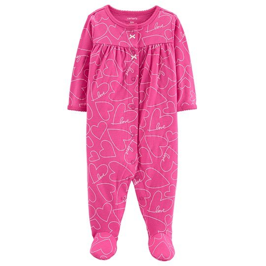 Carter's Heart Snap-Up Footed Baby Body Pink PRINT (969)