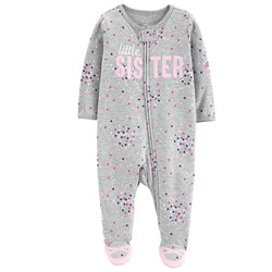 Carter's Sister Zip-Up Footed Baby Body Grey