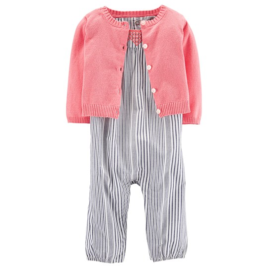 Carter's 2-Piece Jumpsuit & Cardigan Set Pink/Blue STRIPE (984)