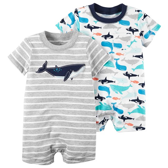 Carter's 2-Pack Whale Rompers White/Blue PRINT (969)