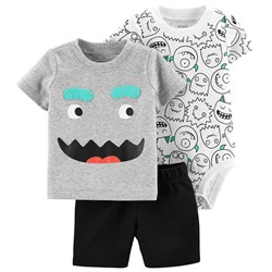 Carter's 3-Piece Monster Little Short Set Grey