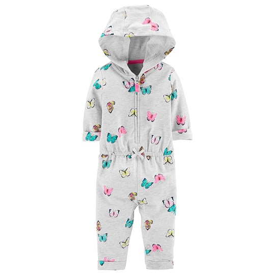 Carter's Hooded Zip-Up Butterfly Onesie Heather Grey HEATHER (053)