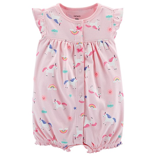 Carter's Unicorn Snap-Up Romper Pink PRINT (969)