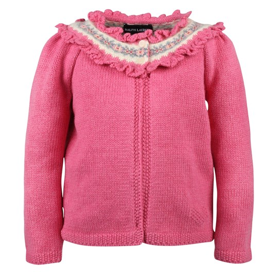 Ralph Lauren Girls Crochet Fairisle Cdg Pink Heather Pink