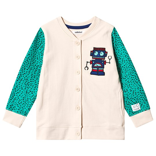 Indikidual Beige and Green Robot Cardigan CHIP