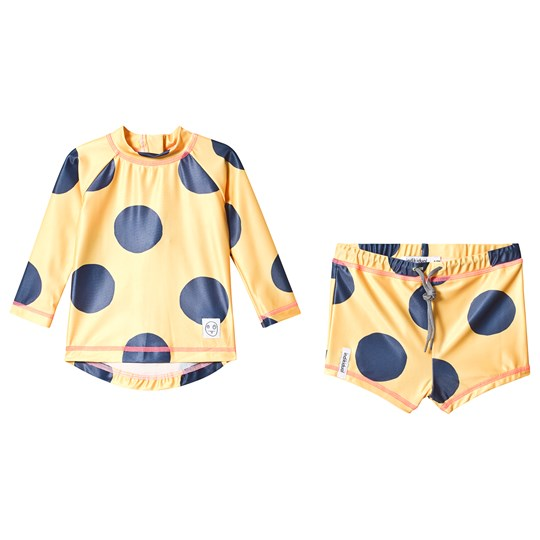 Indikidual Yellow Spotted Rash Guard and Swim Shorts WAVE
