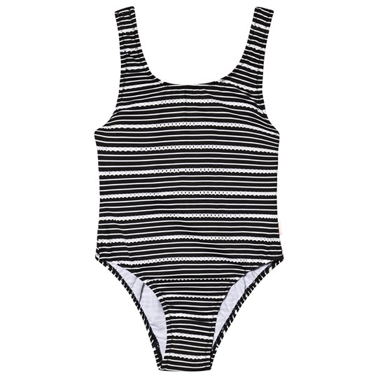 Seafolly Black & White 80's Broderie Stripe Swimsuit BLA/WHI