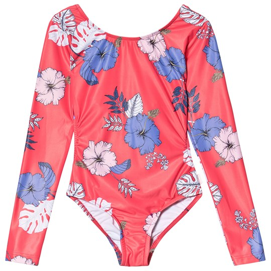 Seafolly Red Tropical Vibes Long Sleeve Swimsuit HIBISCUS RED