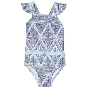 Image of Seafolly Blue Floral Nanna's House Ruffle Swimsuit 2 years (3125273881)