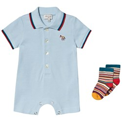 Paul Smith Junior Pale Blue Polo Romper with Zebra Patch and Socks Gift Set