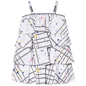 Image of MSGM White MSGM Logo Paint Splatter Dress 14 years (1225509)