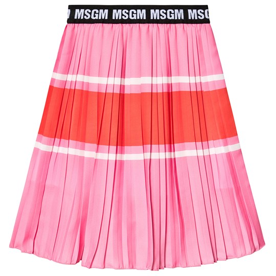 MSGM Pink and Red Contrast MSGM Logo Pleated Skirt 042