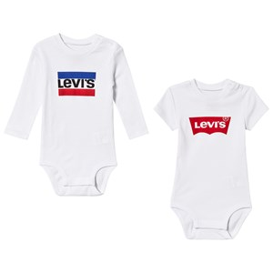 Image of Levis Kids 2-Pack White Branded Bodies 12 months (3125345395)