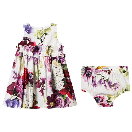 Dolce & Gabbana White Floral Print Dress Bloomers HAW86