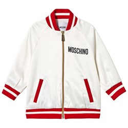 Moschino Kid-Teen Sequin Heart Bomber Jacket White