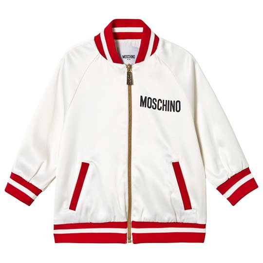 Moschino Kid-Teen Sequin Heart Bomber Jacket Hvid 10063