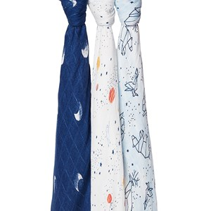 Image of Aden + Anais 3-Pack Silky Soft Swaddles Blue Stargaze (3125351165)