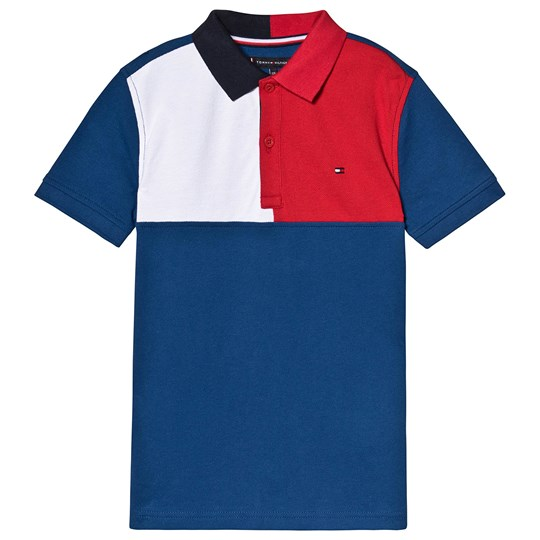 Tommy Hilfiger Color Block Branded Pique Polo Navy 484