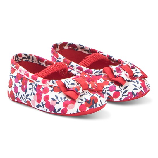 Absorba Red Floral Crib Shoes 03