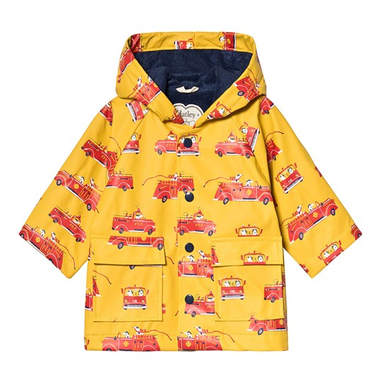 Hatley Vintage Fire Trucks Baby Raincoat Yellow YELLOW FIRE TRUCKS
