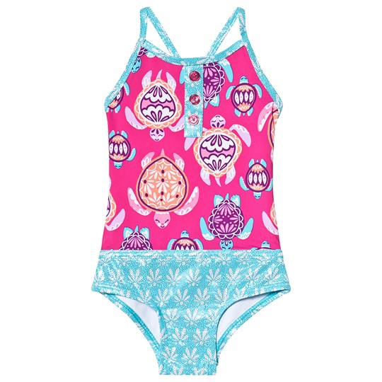 Hatley Pretty Sea Turtles Colorblock Swimsuit Pink and Blue PINK SEA TURTLES