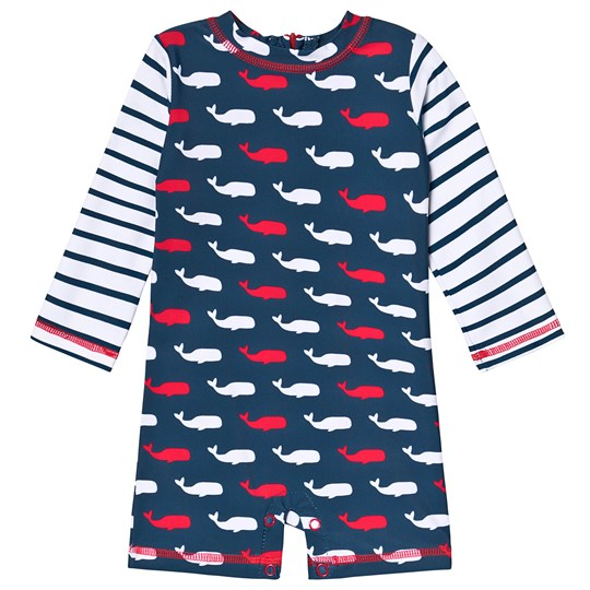 Hatley Whale Pod UV Baby Bodysuit Marinblå NAVY WHALES